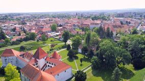 Historic town of Varazdin center architecture aerial view. Northern Croatia stock video