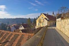 Historic town of Varazdinske Toplice walkway Royalty Free Stock Images