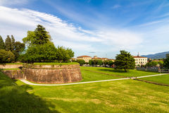 Historic town wall in Lucca, Italy Stock Image
