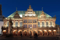 Historic townhall and statue Roland in Bremen Germany Stock Photo