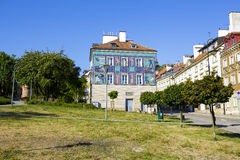 Historic Townhouses and green areas of Warsaw Stock Photography