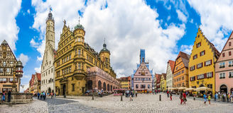 Historic town square of Rothenburg ob der Tauber, Franconia, Bavaria, Germany Stock Photos