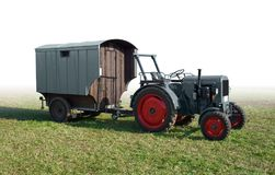 Historic tractor with trailer Royalty Free Stock Image