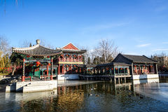 Historic Traditional Garden of Beijing, China in winter, during Chinese New Year Royalty Free Stock Photography