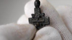 Historic traditional pectoral cross close stock video