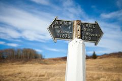Historic trail marker at the Fort Walsh National Historic Site, Saskatchewan Royalty Free Stock Photo