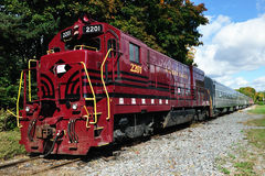 Historic Train. With red locomotive in upstate New York royalty free stock images
