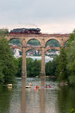 Historic train. Feuriger Elias on a viaduct stock photos