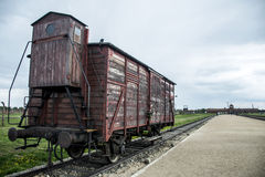 Historic Train on rails concentration camp Auschwitz Birkenau KZ Poland Royalty Free Stock Image