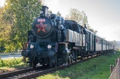 Historic train. Running on rails Stock Photo