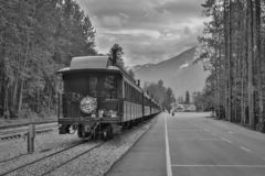 Historic train Skagway - Whitehorse pass in Alaska. Black and white picture, Yukon and Alaska trip, northern adventure royalty free stock photos