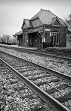 Historic Train Station. A historic train station sits by the railroad tracks in Laurel, Maryland Stock Image