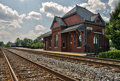 Historic Train Station. A historic train station which is still in use today sits by the railroad tracks in Laurel, Maryland Stock Images