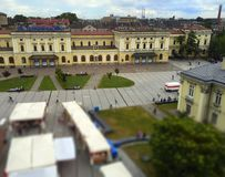 View at the main train station of Krakow in Poland Royalty Free Stock Image