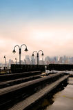 Old Historical Immigration Train Station and Manhattan New York in background. Historic train station Liberty Park New Jersey USA Stock Photos
