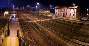 Historic train station, at night. 