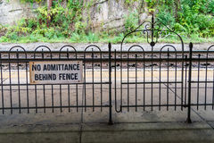 Historic train station in Virginia. Iron railing and gate at a  historic train station in Virginia Stock Photography