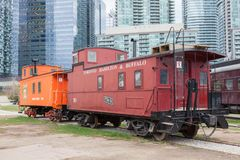 Historic train in Toronto, Canada. Toronto, Canada - Oct 11, 2017: Historic waggons at the Railway Museum in Roundhouse Park in Toronto. Province of Ontario Royalty Free Stock Images