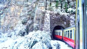 Historic train on the way to the Shimla after Snowfall, UNESCO World Heritage Site, Himachal Pradesh, India
