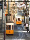 Historic tram in the city of Lisbon Stock Photo