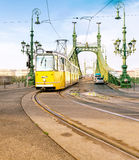 Historic tram on Freedom Bridge in Budapest, Hungary. On a bright day. This image is toned royalty free stock photo