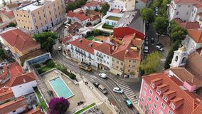 The historic tram in Lisbon from above stock footage