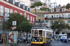 The historic Tram 28 in Lisbon, Portugal Stock Photography