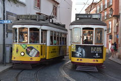 The historic Tram 28 in Lisbon, Portugal Royalty Free Stock Images