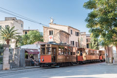 Historic tram in Soller, Majorca. Historic tram connecting the towns of Soller and Port de Soller on the island of Mallorca, Spain. Taken on Placa de Mercat in Royalty Free Stock Photos