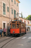 Historic tram in Soller, Majorca. Historic tram connecting the towns of Soller and Port de Soller on the island of Mallorca, Spain. Taken on Placa de Mercat in Stock Image