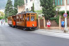 Historic tram of Soller. Tourists in the retro and historic tram in Soller, Mallorca (Majorca), Spain Royalty Free Stock Photography