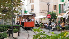 Historic tram on town square in Soller, Majorca. Historic tram connecting the towns of Soller and Port de Soller on the island of Mallorca, Spain. Taken on Placa Royalty Free Stock Photos