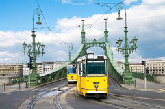Historic trams on Freedom Bridge in Budapest, Hungary Royalty Free Stock Image