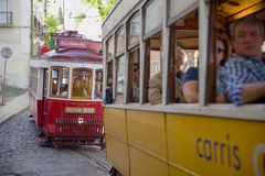 Historic trams in Lisbon Royalty Free Stock Photography