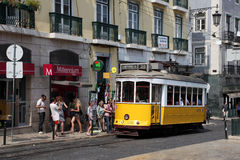 Historic tramway in Lisbon, Portugal Royalty Free Stock Photos