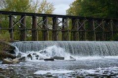 Historic Trestle Bridge in Early Autum in Hamilton, Michigan stock images