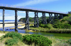 Rail Bridge. Historic trestle rail bridge at Kilcunda on the Bass Coast in south west Gippsland, Victoria Australia Royalty Free Stock Images