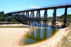 Rail Bridge. Historic trestle rail bridge at Kilcunda on the Bass Coast in south west Gippsland, Victoria Australia Stock Photo