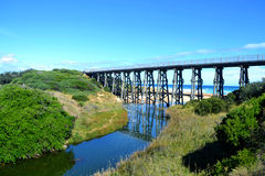 Rail Bridge. Historic trestle rail bridge at Kilcunda now a walking platform on the Bass Coast in south west Gippsland, Victoria Australia Stock Photo