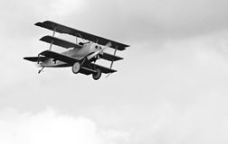Historic triplane on the sky. Stock Photography