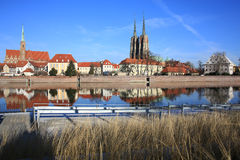 The historic Tumski Island in Wroclaw, Poland Royalty Free Stock Photos