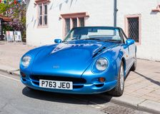 An Historic TVR Chimaera Convertable Sports Car. Awaits the annual May Day parade through Penrith town centre in Cumbria, England Royalty Free Stock Image