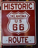 Route 66 sign in Oklahoma. Royalty Free Stock Images