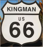 Historic Route 66, Kingman, Sign, Highway, Arizona USA. Historic U.S. Route 66, traffic sign in Kingman. One of the most famous roads in the United States. The royalty free stock images