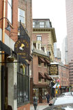 Historic Union Street. Famous Bell in Hand Tavern and Oyster House along Union Street in Bostons North End Stock Photography