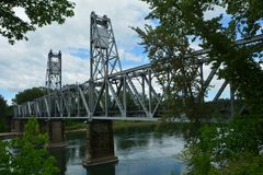 Historic Union Street RR Bridge in Salem, Oregon. The historic Union Street Railroad Bridge, originally built across the Willamette River in 1912-13, now serves Stock Image