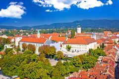 Historic upper town of Zagreb view from above. Capital of Croatia Royalty Free Stock Photo