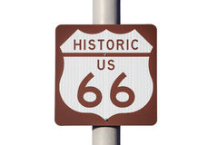 Historic US Route 66 Highway Sign Isoalted on White Royalty Free Stock Photo