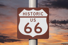Historic US Route 66 Highway Sign with Sunset Sky. Stock Photography