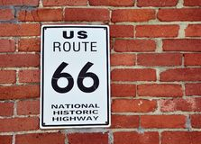 Historic US Route 66 sign. Stock Image